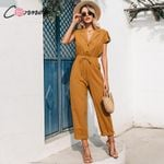 casual button lace up wide leg  jumpsuit