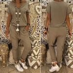 V-neck Loose Long Casual Vintage jumpsuits