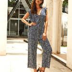 Fashion Sleeveless V-Neck Wide Leg  Floral Jumpsuit