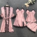 Pajama Sets Sexy Lace Satin Silk Elegant Sleepwear