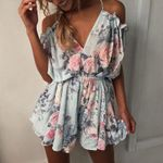 print lace pleated wrapped strapless Rompers