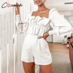 Fashion Long Sleeve zipper Casual Ruffle High Waist Rompers