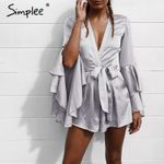 Deep v neck flare High waist tie up pleated short romper