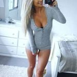 Button Basic Sexy Long Sleeve Deep V Neck Romper