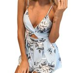 o Floral Sleeveless Sexy  Sashes Short Romper