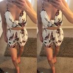 Sleeveless V neck Strap Hollow Out Loose Flower Romper