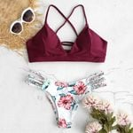 beach split fashion sexy floral  Explosion bikini