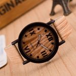 Leather Analog Quartz  Fashion wood watch