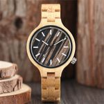 Bangle Nature Quartz Bracelet Simple Wrist Wood Watch