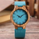 Casual Leather Quartz Natural  Fashion Wood Watches