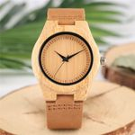Creative Genuine Leather Band Quartz Wood Watches