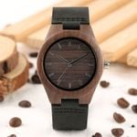 Genuine Leather Strap Natural Vintage Hand-made Wooden Watch