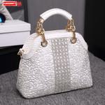 Crocodile pattern leather Luxury fashion diamonds handbags
