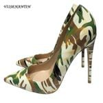 Camouflage Graffiti Pointed Toe Shallow Mouth Sexy High Heel