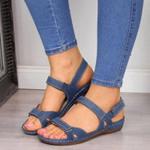 Soft Low Heels Walking  Open Toe Comfy Sandals