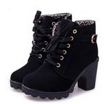 elegant square vintage lace-up Ankle boots