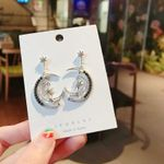 Asymmetric Zircon Fashion Hollow Star Moon Drop Earrings