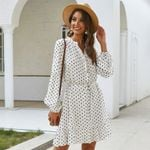 A-line Button Elegant Casual Dots Print Long Sleeve Dress