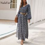 Elegant Retro Vintage Floral Split Lantern Long Sleeve Dress