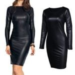 Pencil Stretch Fashion PU Leather Long Sleeve Dresses