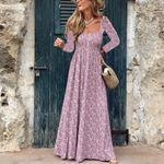Square Neck Ethnic Style Floral Print  Long Sleeve Dresses