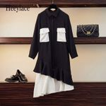 Patchwork Ruffle Loose Vintage Fashion Long Sleeve Dresses