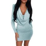 Fashion V-Neck Sequins Long Sleeve Mini Dresses