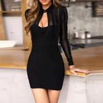 Elegant Bandage Fashion Mesh High Collar Mini Dresses