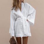 Cotton Linen Long Sleeve Sashes Lace Up V-Neck Cardigan Mini Dress