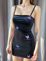 butterfly embroidery Elegant party club mini dresses
