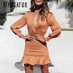 Deep v-neck Vintage ruffle Long sleeve print casual mini dress