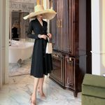 Fashion Long Sleeve V Neck Button Elegant Midi Dresses