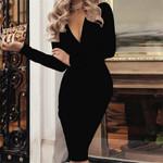 Deep V Neck Sexy Casual Long Sleeve Midi Dress