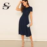 Flare Elegant High Waist A Line Stretchy Midi Dress