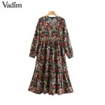 V neck long sleeve  vintage floral pattern print midi dress