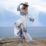 bandage  long sleeve hippie chic long maxi dress