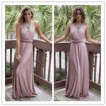 Hollow Bandage Sexy Long Bridesmaids Wrap Maxi Dress
