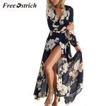Mesh Floral Print Long Sleeve Long Maxi Dresses