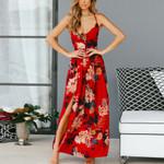 Sexy Sling Split Halter Print Long Sleeve Side Slit Maxi Dress