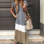 Patchwork Short Sleeve Cotton  Maxi Dress