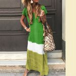 Fashion Cotton Linen Short Sleeve Casual Long Maxi Shirt