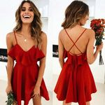 Backless Cross Ruffles Waist V-neck Strap Sexy Dress
