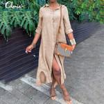 Long Sleeve Casual Buttons Vintage Cotton Linen Shirt Dress