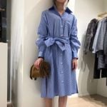 Casual Color Stitching Turn down Collar  Striped Shirt Dress