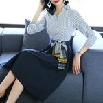 Casual Stripe Patchwork Fashion V-Neck Shirt Dress