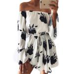 Casual Flare Sleeve  Slash Neck Floral Print Sexy Off Shoulder Dress
