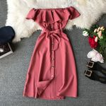 Slim ruffled belt long slash neck elegant off-shoulder dress