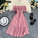 Ruffles A-line High Waist Slash Neck Vintage Off Shoulder Dress