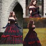 Vintage Gothic Lace Lace-up Off Shoulder Dres