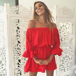 Flare Sleeve Off Shoulder Dress